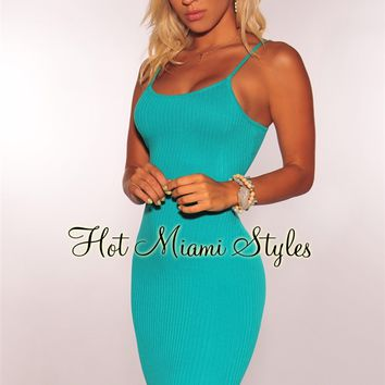 Teal Ribbed Knit Spaghetti Straps Dress