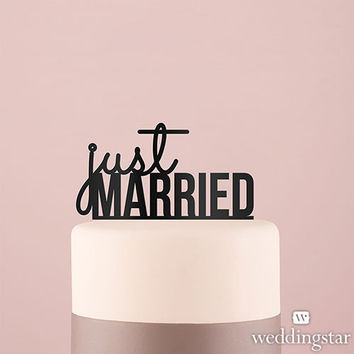 Just Married Acrylic Cake Topper in White or Black