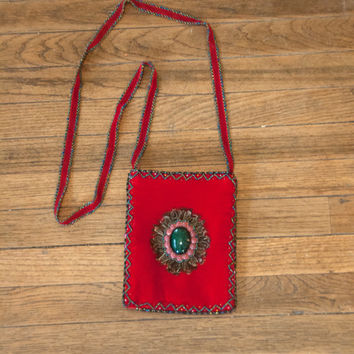 Red Velvet Ethnic Beaded Crossbody Purse | Hippie Feather Handbag Boho Bag | 70s Gypsy Style Beadwork Beaded Clutch Gemstones and Feathers
