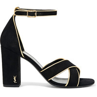 Saint Laurent - Babies metallic leather-trimmed suede sandals