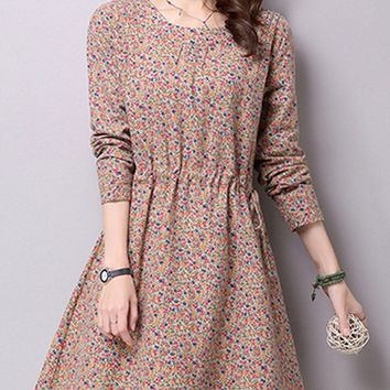 Streetstyle  Casual Drawstring Floral Cotton/Linen Shift Dress