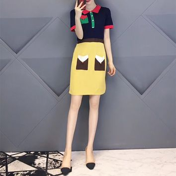 """Gucci"" Women Temperament Fashion Multicolor Lapel Short Sleeve Knit Dress"