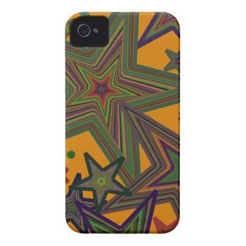 Orange Green Party Stars iPhone 4 Cover