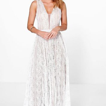 Boutique All Lace Plunge Neck Maxi Dress | Boohoo