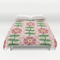 Light Pink Floral Duvet Cover by Sarah Oelerich