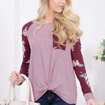Wine Striped Floral Knot Top