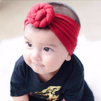 12 Solid Plain Colors Turban Baby Girl Child Infant Toddler Head Wraps Bandana Headband