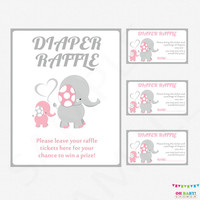 Pink and Gray Baby Shower Elephant Baby Shower, Elephant Diaper Raffle Tickets AND Sign, Diaper Raffle Cards, Printable Insert EL0005-LP
