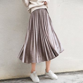 Spring 2018 Women Long Metallic Silver Maxi Pleated Skirt Midi Skirt High Waist Elascity Casual Party Skirt