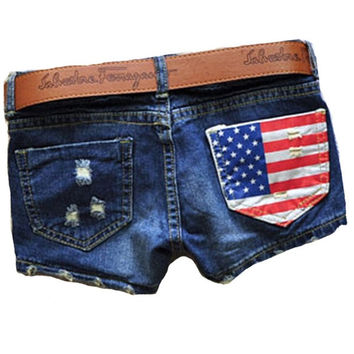 H&Q Hot Sales 2015 Summer New Arrival Women Fasion Denim Sexy America Flag Brand Jeans a Shorts Blue Short Pants Feminino 05-016 [7652690438]