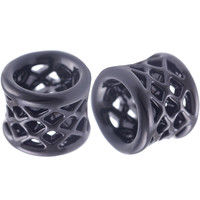 Weaving Gothic Double-Flared Tunnel [Gauge: 1/2 inch - 12mm] Alloy (Black) // Set of 2