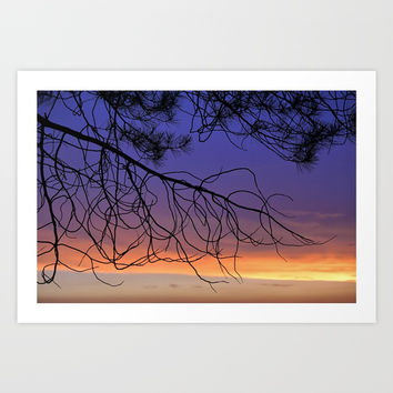 Purple sunset. Into the woods Art Print by Guido Montañés