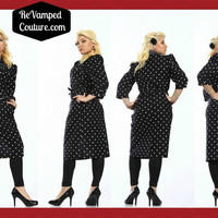 Whirlaway 8P black and white polka dot vintage dress calf length shoulder pads pin up 3/4 sleeves pockets