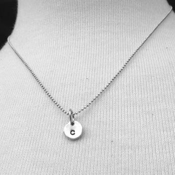 Sample Sale, Tiny Initial Necklace, Letter c Necklace, Monogram Necklace, Hand Stamped Necklace, Charm Necklace, Sterling Silver Jewelry