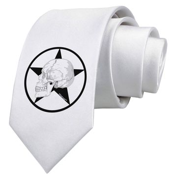 White Skull With Star Printed White Necktie by TooLoud