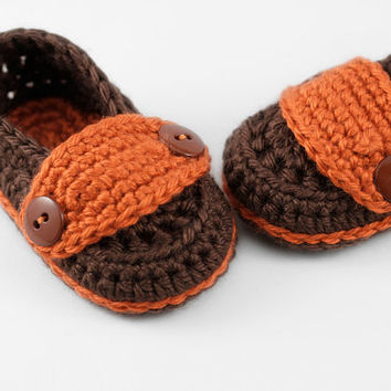 Little Man's Button Loafers // Brown & Orange // 3 to 6 Months // Crochet Baby Loafers