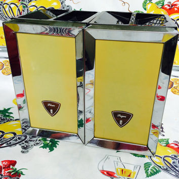 Mid Century Metal Canisters Yellow and Chrome Flour and Sugar by Lady Garner Vintage Kitchen