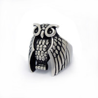 Gothic hip-hop punk owl-shape stainless steel ring