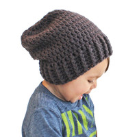 Charcoal Grey Dark Grey Black Crochet Slouch Baby Toddler or Childrens Beanie Any Size 0-8 Years Fitted or Slouchy style
