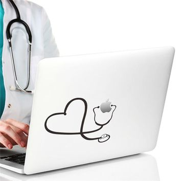creative Love Heart Stethoscope computer laptop wall sticker home decor doctor hospital office decoration car decals Cool Gift