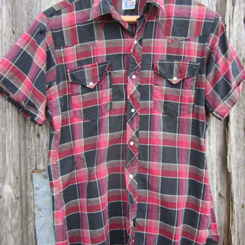 60s RARE Levi's Authentic Western Wear Plaid Cowgirl Shirt, Women S-M Men S  // Vintage Short Sleeve Western Shirt // Cowboy Shirt