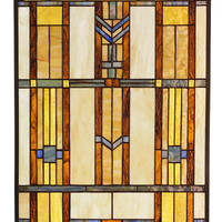 Arts and Crafts Prairie Window Stained Glass Panel 2