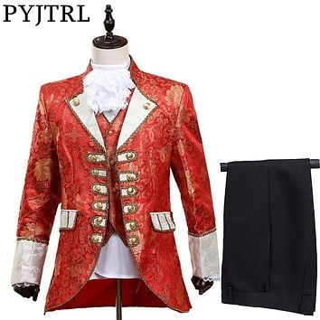 PYJTRL Men Five-piece Set Europe Style Court Marshal Clothing Groom Wedding Red Mens Suits Party Stage Singer Costume