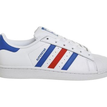 LMFNO Adidas Superstar 1 Trainers White Blue Red