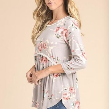 Floral Baby Doll Top - Taupe