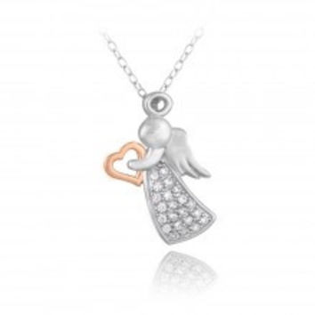 Sterling Silver Two Tone Rose Gold CZ Angel & Heart Silhouette Necklace