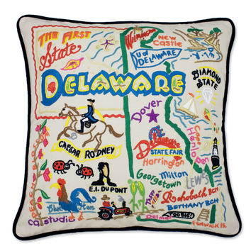 Delaware Hand Embroidered Pillow