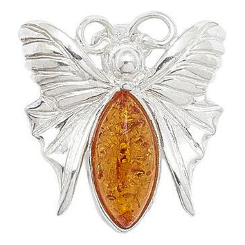Sterling silver amber butterfly pin brooch
