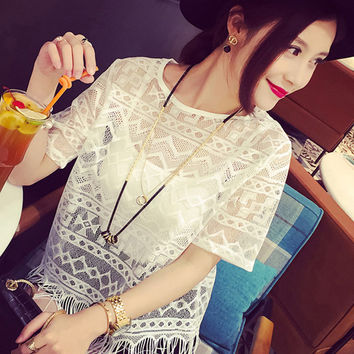 Western style fringed blouse perspective