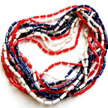 Vintage Patriotic Multi 3 Strand Necklace Long Fixed Bead Plastic Red White Blue Bright Versatile Flapper Length