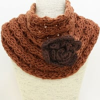 Brown Flower Knit Infinity Scarf