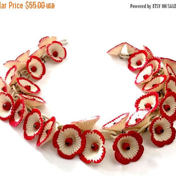 Celluloid Flower Choker Necklace, Cream Rigid Plastic Edged in Red Cold Paint, Two Flower Dangles Each Link, Red Berry Centers, 1940s