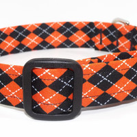 Halloween Orange and Black Argyle Dog Collar