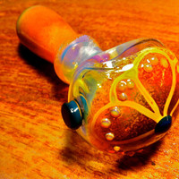 Color Changing Thick Glass Pipe with Flower
