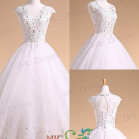 V-Neck cap sleeves ball gowns lace and tulle wedding dress