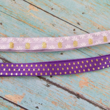 Purple Headband Set / Yoga Headband / Workout Apparel / Creaseless Headband / Affordable Gym Wear / Affordable Headband / Pineapple Headband