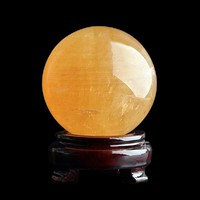 40mm Rare Amber Raw Quartz Yellow Citrine Natural Stone Feng Shui Crystal Ball