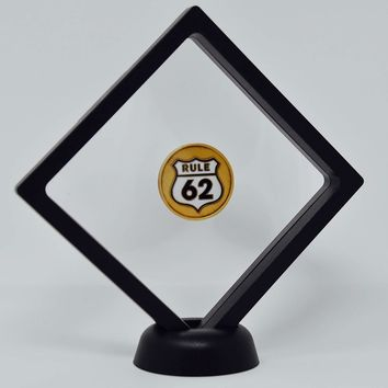 Black Diamond Square AA Medallion Challenge Coin Chip Display Stand Holder Magic Suspension Box