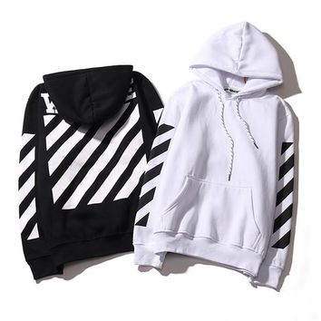 Designer Luxury Mens Hoodies White black OFF WHITE striped Streetwear hoodie Autumn And Winter Wear New Tide Brand sweatshirts Men Women