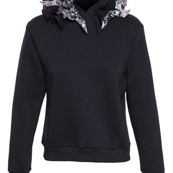 Hooded Sweatshirt with Ruffles - NATASHA ZINKO