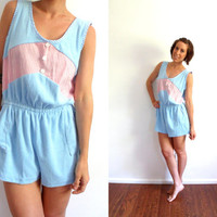 Baby Blue Terry Cloth Striped Romper Large