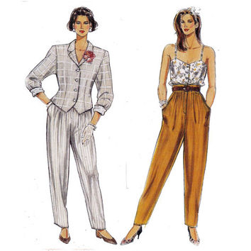 Pants Camisole Top & Bomber Jacket 80s Vintage Sewing Pattern Burda 5357 UNCUT FF Multi Sized Size 10 12 14 16 18