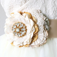 Sparkling Floral Bridal Sash - Ivory and Yellow Blossoms