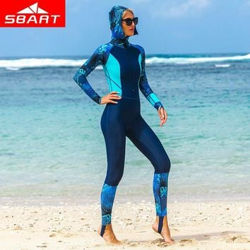 SBART Professional Long Sleeved Wetsuit with Hoodies Women Zipper Full Body Wetsuits Swimsuit Snorkeling Jumpsuits Diving Suit