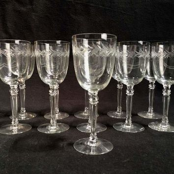 Vintage Fostoria Etched Glass Set of Wine Goblets