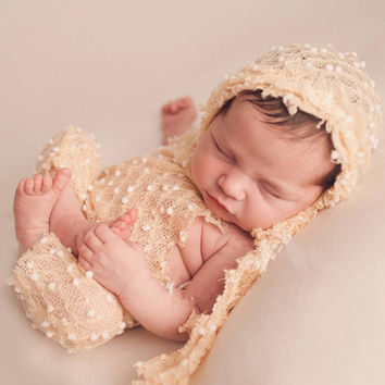 Vintage Style Newborn Knit Romper and Bonnet Hat Set Photography Props Outfit Toddler Hat and Pants Baby Gift H280
